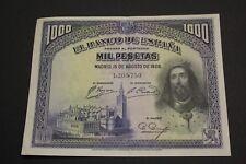 1928 1000 PESETAS SAN FERNANDO BANKNOTE SPAIN PICK#78 XF EBC
