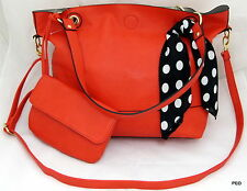 NYC by Perlina Faux Leather Red Shoulder Handbag Purse Scarf Wristlet Shopper