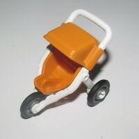 Playmobil Accessoire Poussette Enfant Orange 3 roues Children's Stroller NEW
