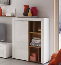 Calvino High Gloss White & Walnut Tall Sideboard with Bookcase Lounge Furniture