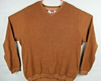 TOMMY BAHAMA Mens Brown V-Neck Sweatshirt Stripped Pullover Sweater Sz XL