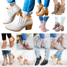 Womens Mid Block Heel Ankle Boots Ladies Round Toe Chunky Booties Shoes Size UK