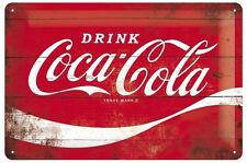 A4 Retro Tin Metal Embossed Sign COCA-COLA LOGO 20x30cm Licensed Red Wave Coke