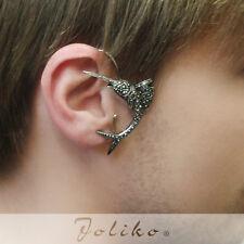 JoliKo Ohrklemme Ear cuff Fisch Tattoo Silber Markasit Big Marlin L - XL RECHTS