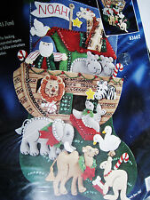 Christmas Bucilla STOCKING FELT Applique Kit,NOAH'S ARK,Boat,Animals,#83662,18""