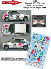 DECALS 1/18 REF 1240 PEUGEOT 205 GTI IVENS RALLYE DU ROUERGUE 1988 RALLY