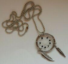 Dreamcatcher Necklace Pendant - Black Stones and Metal Feathers - Valentines