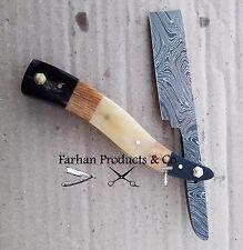 Damascus Steel Barbers Shaving Razor Blade Buffalo Horn Handle 55-60 HRC Sharp