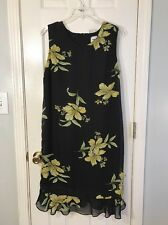 Black Floral Bold & Colorful Dress By Anthony Richards Size 12 Petite