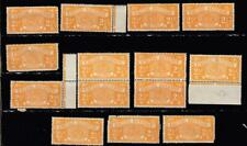 Excise Revenue Stamps 2 1/2d  x 14 With Two Pairs All With Flaws Missing Perfs C