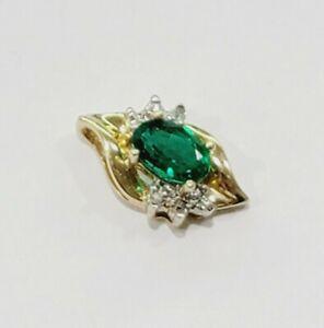 Petite 10k Yellow Gold Oval Green Tourmaline Diamond Pendant Slider
