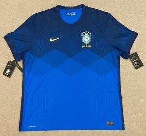 Nike Brazil 2020 Vaporknit Away Match Soccer Jersey CD0597-427 Mens Size 2XL