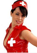 RED PVC NURSE UNIFORM *LOUIMANE* Sexy.NURSES COSTUME DRESS OUTFIT in sizes 8-22