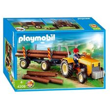 PLAYMOBIL 4209 Logger's Tractor Logging Trailer Wood Chopping COMPLETE IN BOX