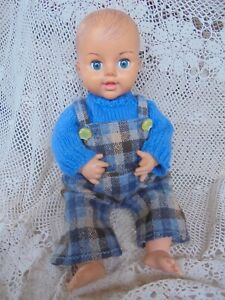 VINTAGE BABY BOY DOLL MADE IN ENGLAND 36CM DRESSED NEW EYES SITTING DOLL ONLY