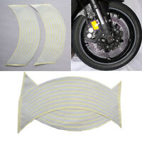 "18""  Wtite Stickers Reflective Car Motorcycle Rim Stripe Wheel Tape Decal BH"