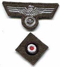 WWII German Heer Cap Set Eagle Iron Cross Silver on Field Grey Wool Repro
