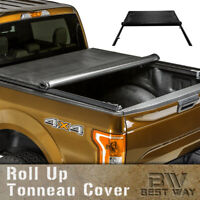 Lock Roll Up Soft Tonneau Cover For 2005-2015 Toyota Tacoma 6Ft / 72In Bed Cover