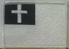 CHRISTIAN Flag Patch with VELCRO® brand fastener Black & White White Border #1