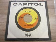 THE ANIMALS 7'' original CAPITOL SWIRL 45rpm I'M CRYING vinyl VG+