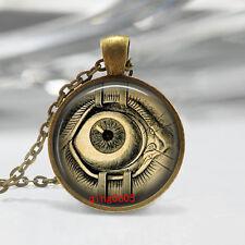Vintage Eye  Cabochon Tibetan Bronze Glass Chain Pendant Necklace #T24