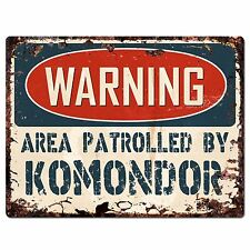 Pp2438 Warning Area Patrolled By Komondor Plate Chic Sign Home Store Decor