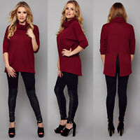 Ladies Long Sleeve Jumper Casual Polo Neck Roll Neck Top Women Turtle Plain 8-26