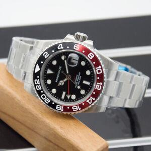 MANBUSHIJIE 40mm GMT Saphirglas Automatisch Edelstahl Herren Uhr mens watch