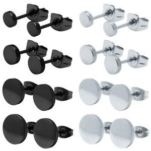 1 Paar Ohrstecker Ohr Piercing rund Edelstahl silber schwarz verschiedene Größen