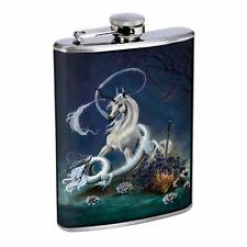 Dragon Unicorn Em1 Flask 8oz Stainless Steel Hip Drinking Whiskey