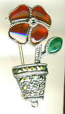 """925 Sterling Silver Deep Red Agate & Marcasite  Brooch H 33mm 1.1/4"""""""