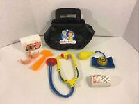 Vintage Fisher-Price Medical Kit Black Bag w/ Accessories Pretend Play