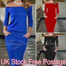 UK Womens Bodycon Off Shoulder Dress Ladies Party Evening Midi Dress Size 6-14