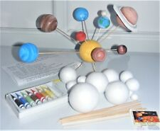 Make Your Own SOLAR SYSTEM Kit 12 Polystyrene balls 2cm - 7cm Rods Paints & Ring