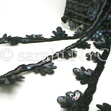 Black Floral Sequin Beads Fabric Trim trimming,Embellishment,co stume,pageant