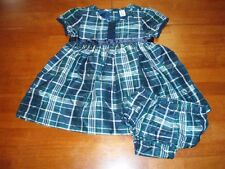 Toddler's Navy and Green Tartan Plaid Dress w/ Bloomers  Sz 18-24Mos  LN!!
