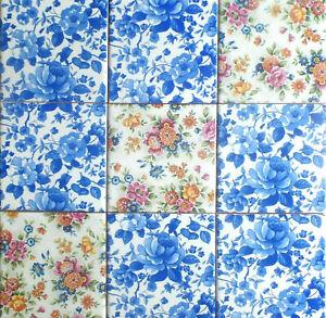 "Blue Water Rose Chintz Ceramic Tile 4.25"" x 4.25"" Kiln Fired Décor 9 pcs"