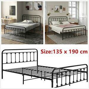 Metal Bed Frame 4ft6 Double Size Bedstead with Headboard & Footboard 135x190 cm