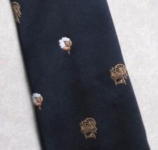 TOOTAL WIDE TIE VINTAGE RETRO SPINNING WHEEL COTTON NAVY GOLD 1970s MOD