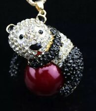 NWT Betsey Johnson Necklace Black Panda 🐼 Crystal Gold