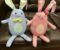 Pink And Blue Bunny Rabbits Indoor Decor For Children/Nursery Room 10 Inch Tall