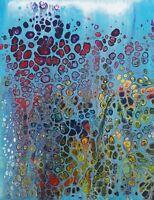 Original Abstract The Blues Acrylic Pour Fun  Modern  Contemporary Art Crossley