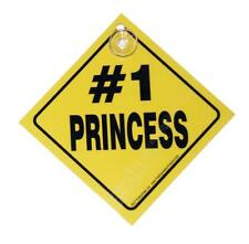 #1 Princess Black & White Small Plastic Humorus Car Window Sign with Suction Cup