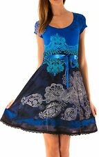 Beautiful Desigual Paris Short Sleeved Scoop Neck Blue Dress Size M
