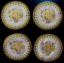 Set of 4 PCS Golden Floral Coasters Cup Mug Glass Holder Thai Lace Kitchen Decor