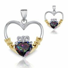 18k Yellow Gold Plated Mystic Topaz Heart Sterling Silver Claddagh Pendant