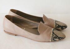 AGL Attilio Giusti Leombruni Nude Leather Flats Point Toe Snake 42 Shoes
