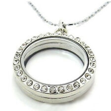 2017 30mm Round Crystal Silver Floating Memory living Locket Necklace For Charms