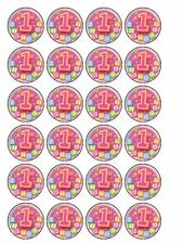 "30 x Happy 1st Birthday Pink 1.5"" PRE-CUT Edible Rice Paper Cupcake Toppers"