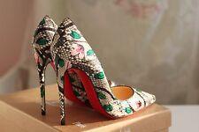 NEW CHRISTIAN LOUBOUTIN So Kate 120 Python Flower Multi Heels Pump Shoe 37,5